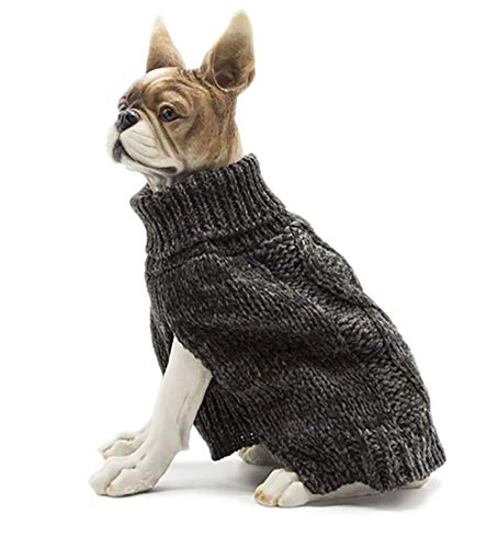 Apetian Dog Sweater Cold Weather Coats Winter Dog Apparel Dog Knitwear Clothing (S, SH005-Dark Grey)