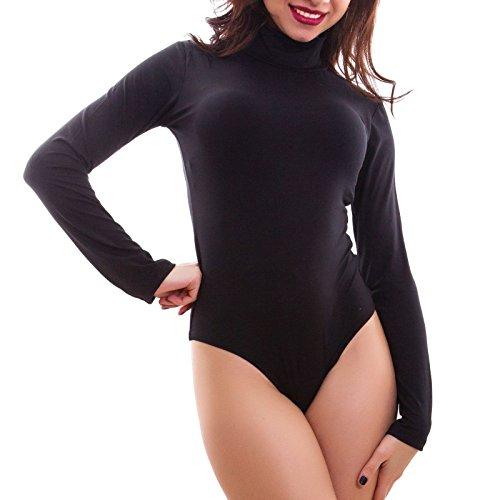 Toocool - Body Donna Lupetto Maglia Collo Alto Felpato Maniche Lunghe Basic Caldo T9741 [L/XL,Nero]