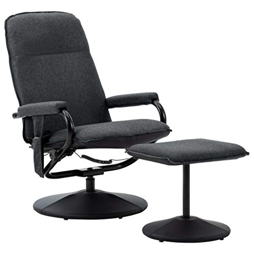 vidaXL Massagesessel mit Fußhocker Heizfunktion Fernsehsessel Relaxsessel Liegesessel TV Sessel Ruhesessel Polstersessel Dunkelgrau Stoff