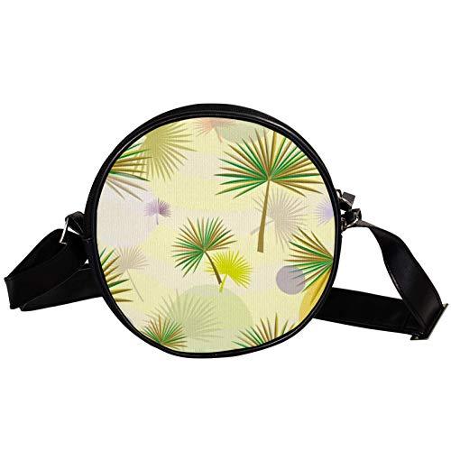 Bolso cruzado redondo pequeño bolso de las señoras bolsos de hombro de la moda bolso de mensajero bolsa de lona accesorios para las mujeres - patrón de hojas de Palmetto
