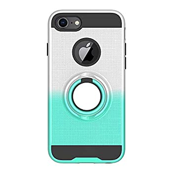 iPhone 7 Case iPhone 8 Case Folice 360 Degree Rotating Ring Holder Kickstand Bracket Cover Phone Case for Apple iPhone 6s / iPhone 6 / iPhone 7 / iPhone 8  Silver/Mint Green
