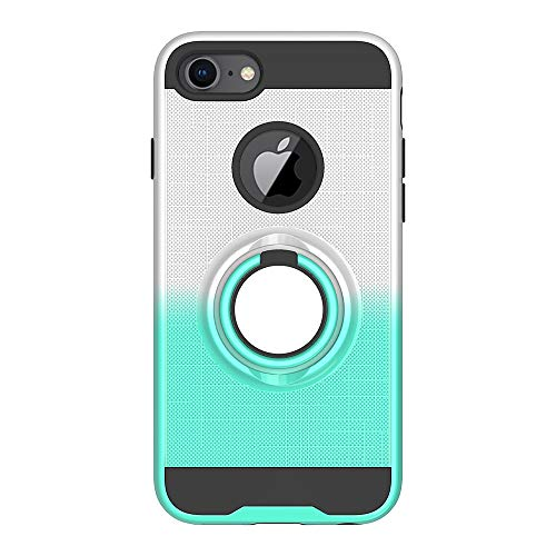 iPhone 7 Case, iPhone 8 Case, Folice 360 Degree Rotating Ring Holder Kickstand Bracket Cover Phone Case for Apple iPhone 6s / iPhone 6 / iPhone 7 / iPhone 8 (Silver/Mint Green)