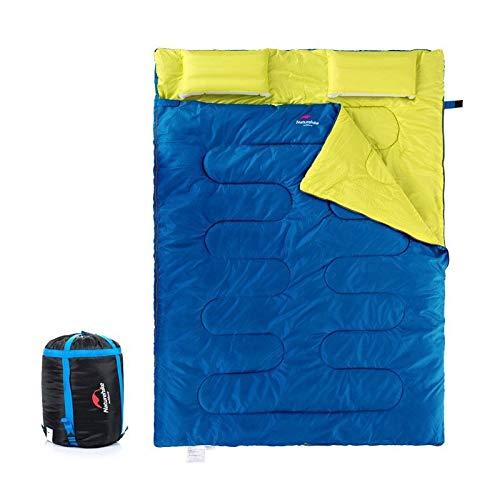 Générique Sac de Couchage Double pour Adulte avec Rembourrage en Coton Automne Hiver Camping Tourisme Sac de Couchage avec Oreiller Nemo Sac de Couchage, Bleu