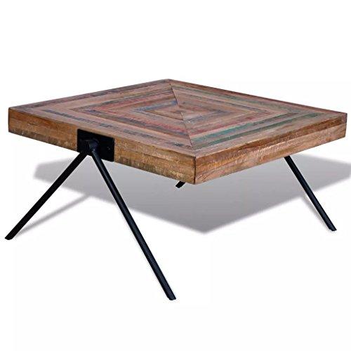 Festnight Square Coffee Side Table Solid Reclaimed Teak Wood Handmade for Home Office Living Room Furniture Decor