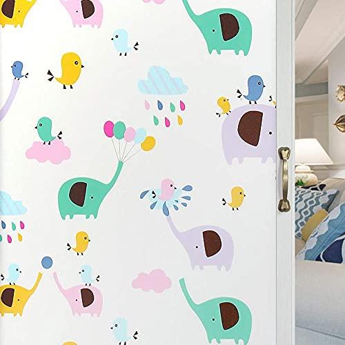 LMKJ Película de Ventana de Elefante estática 3D película de vidrieras, película de Ventana autoadhesiva para habitación de niños sin Pegamento A19 50x200cm