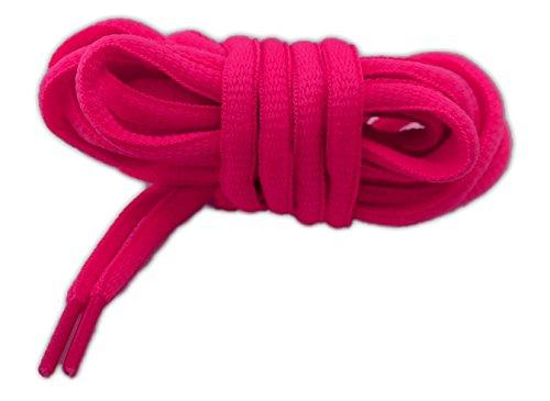 neon Lacci per calzature sportive, ovali, elevata qualità, 125 cm (fucsia)