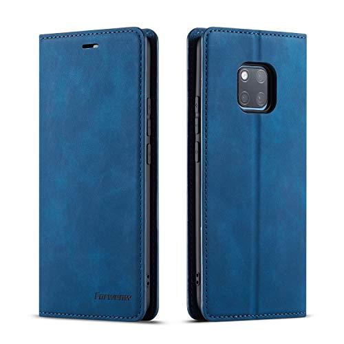 QLTYPRI Hülle für Huawei Mate 20 Pro, Premium Dünne Ledertasche Handyhülle mit Kartenfach Ständer Flip Schutzhülle Kompatibel mit Huawei Mate 20 Pro - Blau