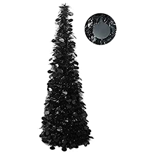 funpeny 5ft black tinsel halloween christmas tree, collapsible pop up artificial pencil tree decorations for xmas home party fireplace indoor outdoor decor silk flower arrangements