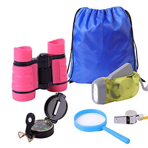 Surplex 6 Stück Abenteuer Outdoor Explorer Kit Fernglas Set für Kinder Kids Adventure Kit Fernglas, Taschenlampe, Kompass, Pfeife, Lupe & Rucksack Geschenke Spielzeug für 3-8 Jahre alte Jungen