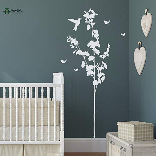 Autocollant mural en vinyle oiseau papillon floraison arbre plante salon Art amovible décoration de la maison autocollants 63x124cm