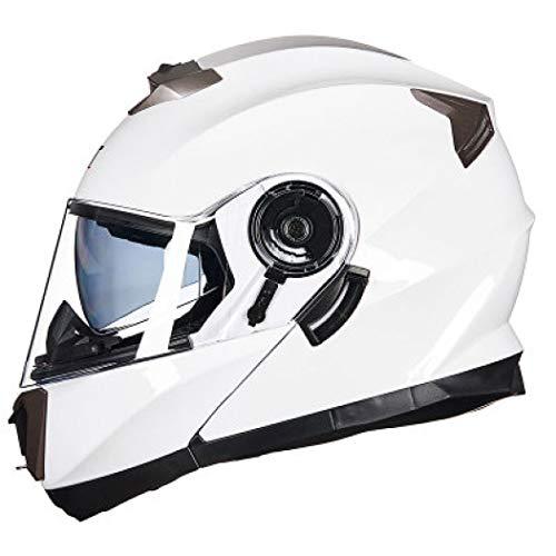 OLEEKA Doble visera Flip Up Full Face Casco Capacete Moto Bicicleta Motocross Seguridad Casco de motocicleta