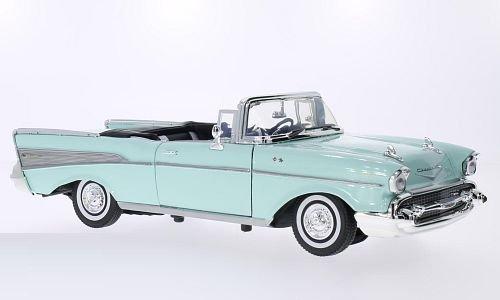 Chevrolet Bel air Convertible, vert clair, 1957, voiture miniature, Miniature déjà montée, Motormax 1:18