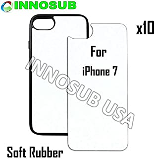 10 x Apple iPhone 7-Rubber-black - blank dye case + inserts for dye Sublimation phone cover / blank Printable case, Made by INNOSUB USA