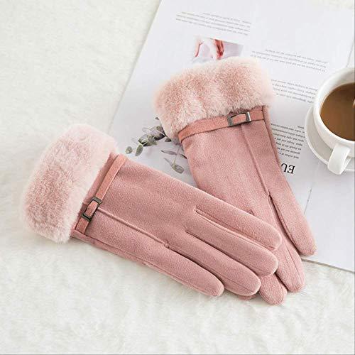 AMZIJ GlovesWomen Touchscreen Wildlederhandschuh Winter Künstliches Kaninchenhaar Handgelenk Mund Handschuhe Verdickung Warme Wolle Fleece Fäustlinge One Size N915-Buttton Pink