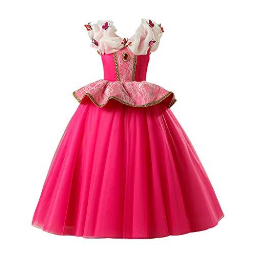 KOLY Vestiti Bambine Abito Tutu Ragazza 4-8 Anni Costumi Carnevale Abbigliamento Halloween Party Abiti per Bambini Regali di Natale Vestito da Principessa(Rosa Caldo,140)