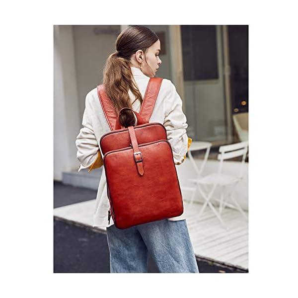 Womens Backpack Purse Vegetable Tanned Full Grain Leather 15.6 Inch Laptop Travel Business Vintage Large Shoulder Bag 2
