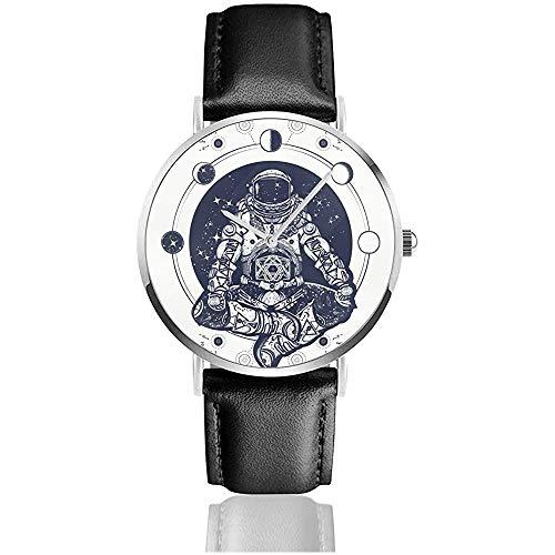 Astronauta en la posición del Loto Tatuaje Arte y diseño de Camiseta. Símbolo de meditación, armonía, Reloj Espacial Relojes de Pulsera