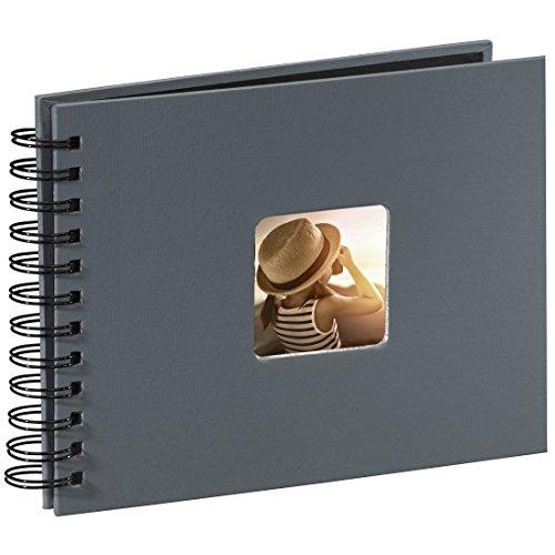 Hama Fotoalbum 24x17 cm (Spiral-Album mit 50 schwarzen Seiten, Fotobuch mit Pergamin-Trennblättern, Album zum Einkleben und Selbstgestalten) grau