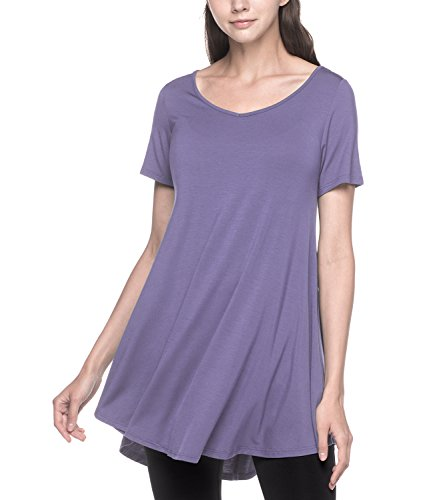 LAPASA Damen Lange Große Größen Longshirt, Kurzarm Basic T Shirts MEHRWEG - L020 (Lila, XL (letzter Abbildung zufolge))