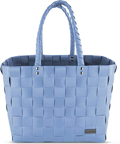 normani Einkaufstasche geflochten mit Henkeln - Tragetasche extra robust Farbe Light Blue