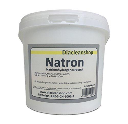 Natron 5 kg Pulver in pharmazeutischer Qualität – Natriumhydrogencarbonat (E500ii) - NaHCO3 - Backsoda - Basenbad – Hausmittel zum Backen, Reinigen, Baden, Gerüche Neutralisieren & DIY-Kosmetik