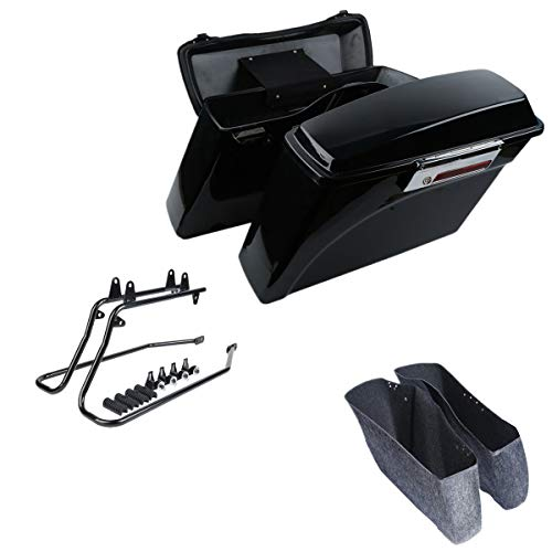 XFMT Gloss Black Hard Saddle bags Trunk w/Lid Latch & Key+Saddlebag Conversion Brackets Mounts For Harley Davidson Softail 1994-2013