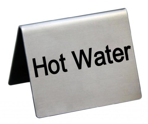 "New Star Foodservice 27143 Stainless Steel Table Tent Sign,""Hot Water"", 2-Inch by 2-Inch, Set of 6"