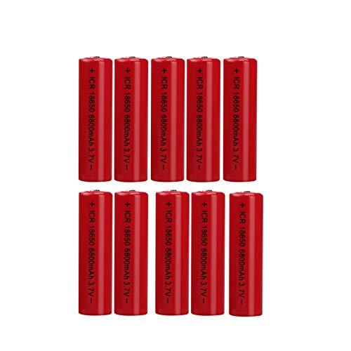 KPNG 10 Stück 18650 Bateria, 3.7v/ 6800mah Akku, wiederaufladbare Batterien 1,800 Zyklen, für Icr18650 Lithiumbatterien Li-Ion Bateria, für Power Bank Scheinwerfer Ersatz, Taschenlampen,