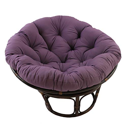 MISC 52 Inch Grape Purple Papasan Cushion Only Cotton Rounded Tufted Oversized Chair Pad Floor Pillow Use Plush Indoor Thick Comfy Solid Color, Polyester