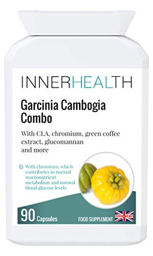 Premium UK Made Cambogia Garcinia Combo 510mg- High Strength Antioxidant for Appetite Control, Fat Loss, Reduced Hunger & Cravings. with Glucomannan, Green Coffee Extract & Chromium - 90 Capsules.