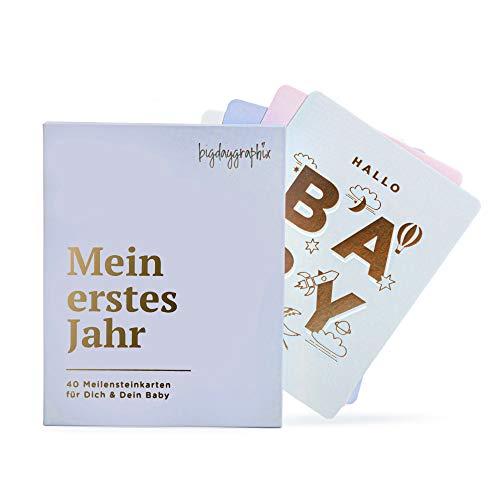 40 Meilensteinkarten Baby PREMIUM mit Goldfolie + Geschenkbox | für Junge & Mädchen | Mein erstes Jahr | Geschenk zur Geburt Schwangerschaft Geschenkset Babyparty