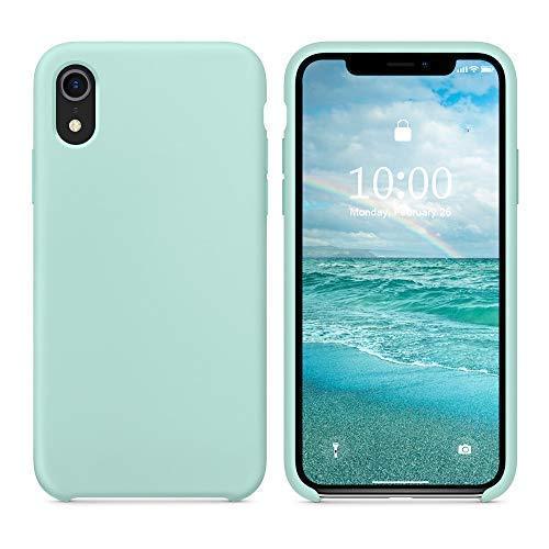 SURPHY Cover Compatibile con iPhone XR, Custodia per iPhone XR Silicone Slim Cover Antiurto con Fodera in Microfibra, Anti-Graffio Cover Case per iPhone XR 6.1 Pollici (2018), Verde Mare