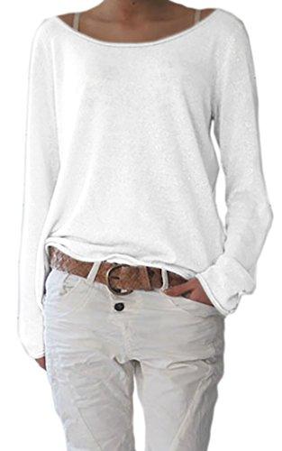 Mikos* Sexy Rundhals Ausschnitt Langarm Lose Bluse Strick Pullover Farben Sommer Herbst Winter S-M-L-XL-(632) (Weiß, L/XL)