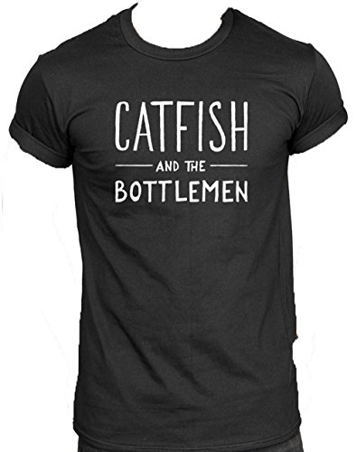 New Unisex Pesce Gatto e Il Logo Bottlemen t-Shirt Top, Musica Rock Il Balcone Kathleen Band Black Medium