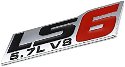 UrMarketOutlet 5.7L V8 LS6 Black/Red/Chrome Aluminum Alloy Auto Trunk Door Fender Bumper Badge Decal Emblem Adhesive Tape Sticker
