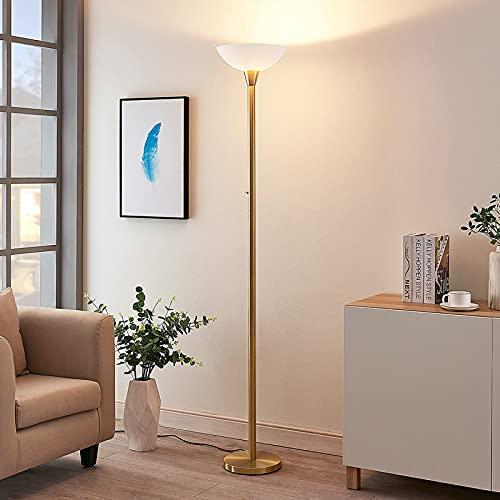 Lindby Stehlampe/Deckenfluter Metall Glas | Standleuchte Messing matt | Stehleuchte 1 flammig E27 Fassung max. 60W | ohne Leuchtmittel