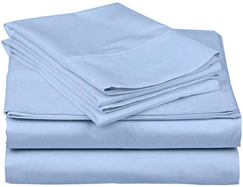 Full XL Dorm Bedding Sets-Full XL Sheet Set- Full XL Dorm Sheets-3 Piece Full XL Sheets-Twin Fitted Sheet Twin Extra Long Sheet Set Full XL-Sky Blue Solid Twin XL Sheet Set for College Boys and Girls