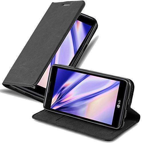 Cadorabo Hülle für LG X Power - Hülle in Nacht SCHWARZ – Handyhülle mit Magnetverschluss, Standfunktion und Kartenfach - Case Cover Schutzhülle Etui Tasche Book Klapp Style