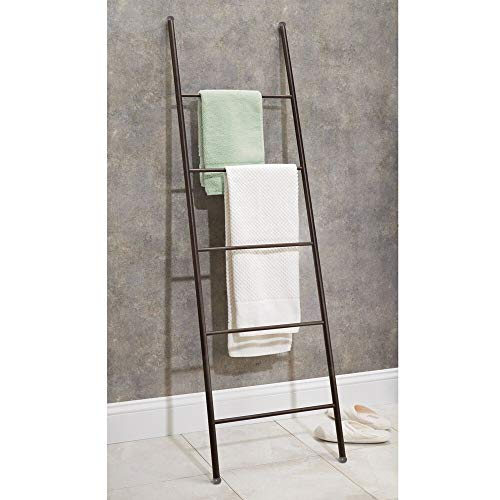 mDesign Metal Free Standing Bath Towel Bar Storage Ladder - Holds Towels, Blankets, Clothes and Magazines/Newspapers - 5 Levels