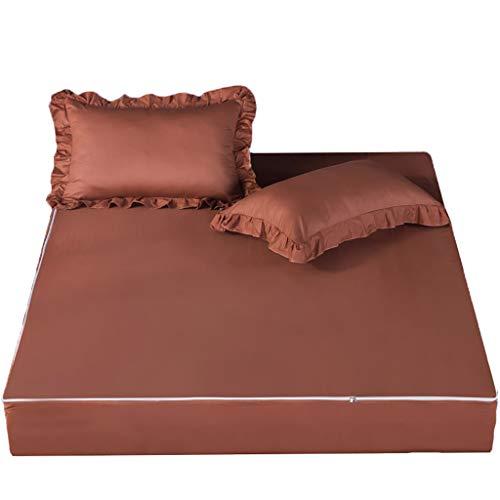 LFY Protector de colchón Protector de colchón con Cremallera Individual, Funda de colchón 100% algodón Funda de Cama, Seis Lados con Todo Incluido (Color : Marrón, tamaño : Super King)