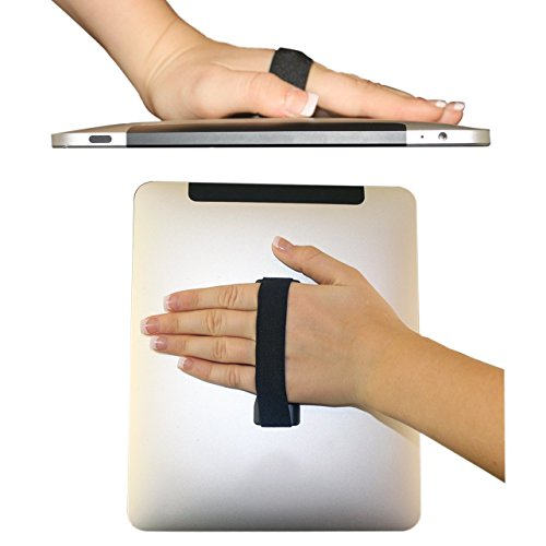 LoveHandle Tablet Grip For Tablets and Large Smartphones - LoveHandle XL Grip - Black Elastic Strap with Black Base (LHT-01-Black) - Finger Grip For Tablet and Large Phone
