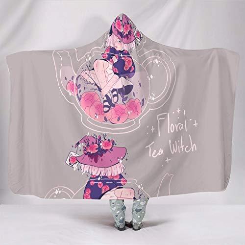 Zacht met capuchon deken boho mandala heks met bloemen theepot kunstwerk druk warme winter fleece gezellige wikkelrobe voor dekens studeren stoel slaapkamer