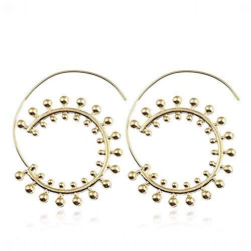 ZJL Stilvolle Einfachheit Geschenkidee für Frauen Übertriebener Whirlpool Gang Mesh Ohrringe Personalisierte Kreis Spirale Ohrschmuck aus Gold und Silber