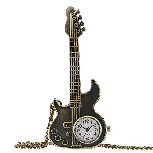 Jongens Pocket Watch, Brons Antieke Vintage Gitaar Vorm Quartz Pocket Watch, Ketting Klok Gift voor Mannen - JLySHOP