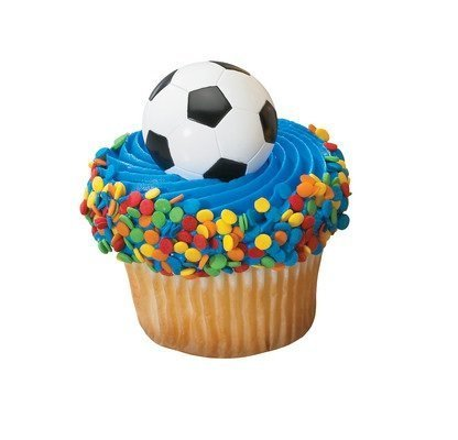 A1BakerySupplies 24 Count Cup Cake Topper Cup Cake Picks Soccer Ball