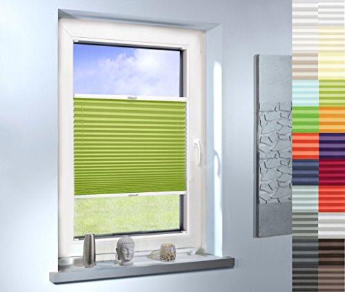 Sun World Plissee nach Maß, hochqualitative Wertarbeit, für Fenster und Türen, alle Größen, Maßanfertigung, Jalousie, Faltrollo (Farbe: Light Green, Höhe: 201-210cm, Breite: 111-120cm)