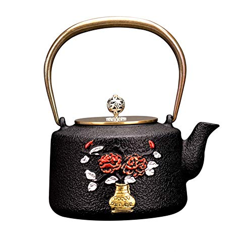 Tetera Tetera de hierro fundido, fundición japonesa Tetera de hierro, hierro fundido duradero, Diseño Decoración de la flor hermosa, 1200ML for el té Tetera Retro (Color : Black, Size : 1200ml)