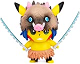 Avicir Pikachu Figura de acción Cosplay Demon Slayer Kamado Tanjirou Estatuas Figuras Colección 4 pulgadas Regalos de cumpleaños PVC (Hashibira Inosuke)