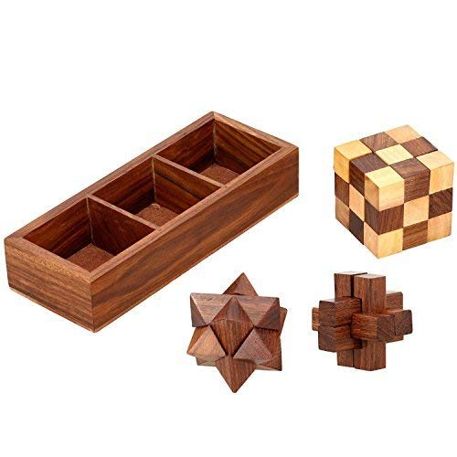 Indian Glance 3 in 1 3D Puzzles for Adults | Kids | Teens | Boys | Girls | Fun- Includes Wood Interlocking Blocks, Diagonal Burr, and Snake Cube in Storage Box - 3 in 1 Wooden Puzzle Games Set