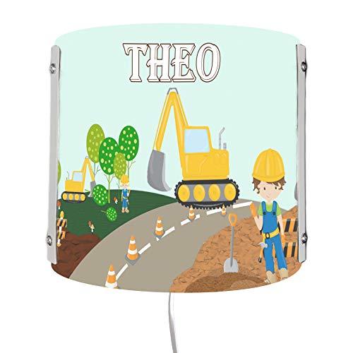 CreaDesign WA-1084 , Bagger, Kinderzimmer Wandlampe personalisiert mit Namen, Nachtlicht / Schlummerlicht für Steckdose, E14, 22 x 22,5 x 85 cm